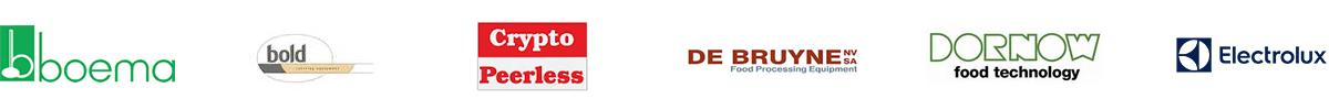 Backus, Boema, Bold, Crypto, De Bruyne, Dornow, Electrolux, Finis, Flo-Mech, Florigo, Haith, Hobart, IMC, Jaycraft, Kiremko, Kronen, Kuipers, Limas, Magnuson, Marcelissen, Metcalfe, Nymek, Peter Cox, PPM, Sammic, Sormac, Speed Peel, Speedpeel, Stigwood, Tickhill, Vanmark, Watson